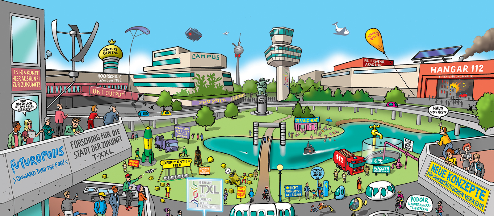 Comic-style sketch graphics that stylized some of the concepts for the subsequent use of the main terminal: green areas, many people during leisure activities such as kite flying
