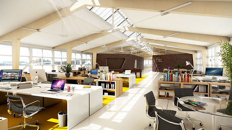 light and friendly open-plan office