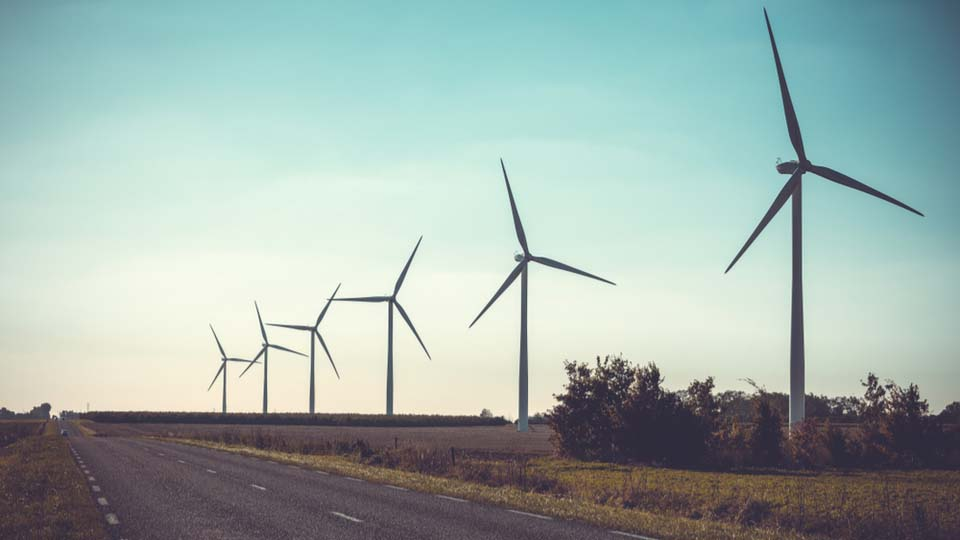 Rural landscape with working wind turbines behind a road.