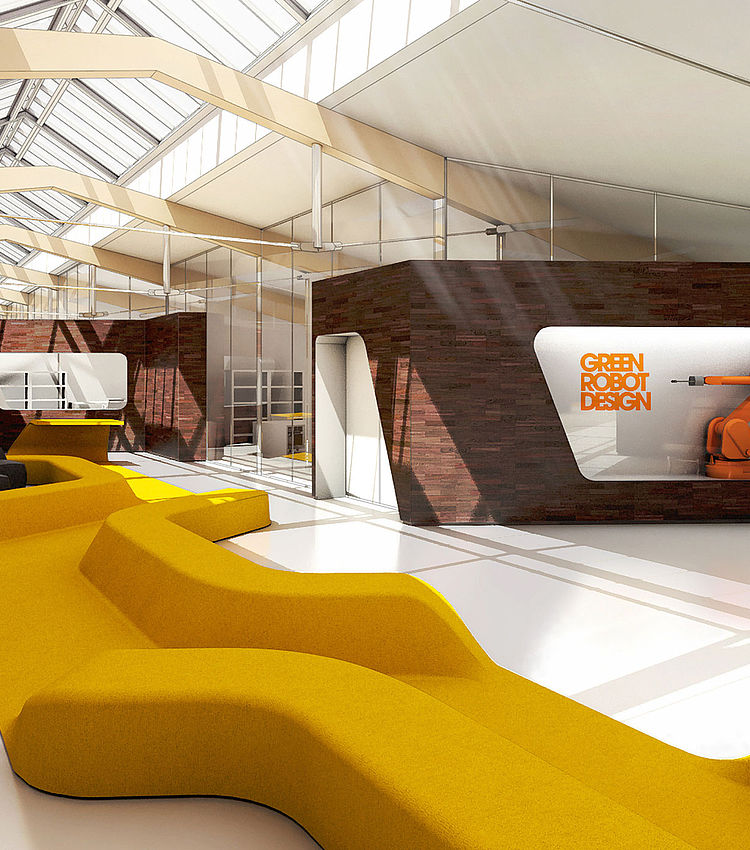 visualization of modern office space with upholstery in the middle