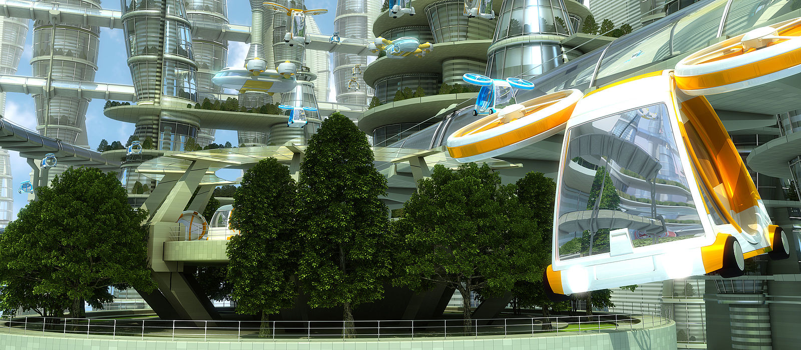 visualization of a green city of the future with colorful flying objects for transportation