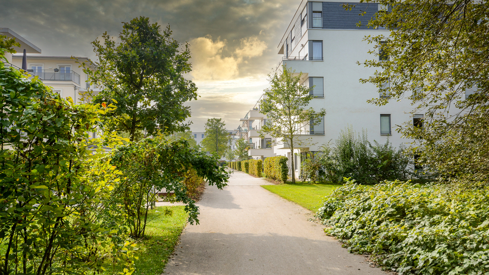 Residential area with ecological and sustainable green residential buildings